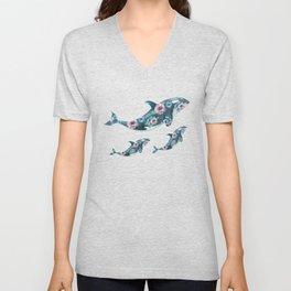 Rose Garden Whales Unisex V-Neck