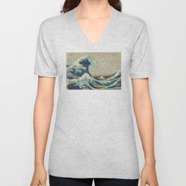 Great Wave Off Kanagawa (Kanagawa oki nami-ura or 神奈川沖浪裏) Unisex V-Neck