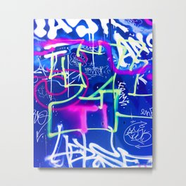 Blue Mood with Pink Language Metal Print