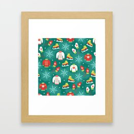 Christmas Sweaters, Ice Skates and Mittens Pattern Framed Art Print