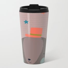Big Bear and Bluebird Pink Metal Travel Mug