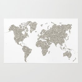 Silver sparkly glitter world map Rug