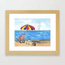 Summer Fun at the Beach Framed Art Print