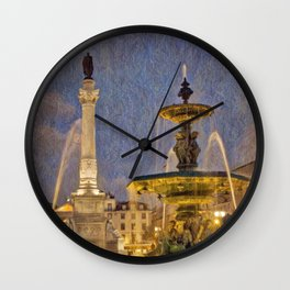 Rossio fountain at night Wall Clock