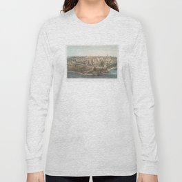 Vintage Pictorial Map of Mount Vernon VA (1859) Long Sleeve T-shirt