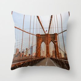 Brooklyn Bridge Sunrise Throw Pillow