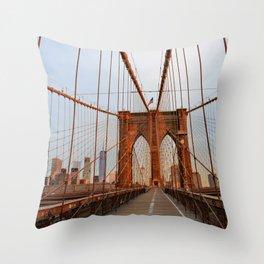 Brooklyn Bridge Sunrise Throw Pillow