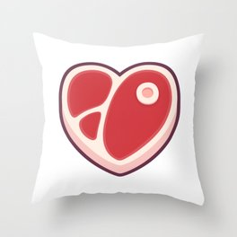 Heart shaped steak Throw Pillow