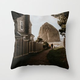 Cozy Cannon Beach, Oregon Throw Pillow