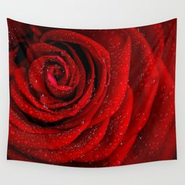 Red rose with sparkling droplets - Beautiful elegant Roses Wall Tapestry