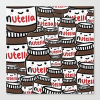 nutella Canvas Prints featuring Nutella Love by Pink Berry Patterns