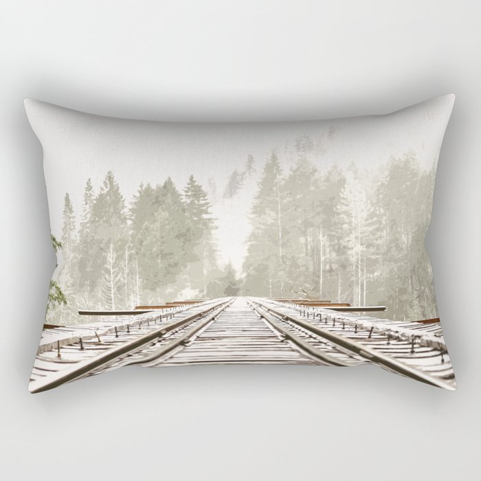 Railway in the forest Rectangular Pillow