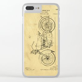 Motorcycle Support Patent Drawing From 1925 Clear iPhone Case