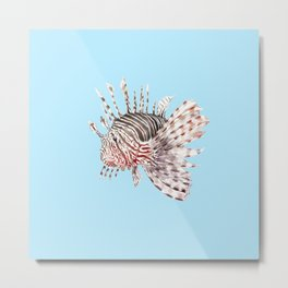 Watercolor Lionfish Tropical Fish Marine Life Painting Metal Print