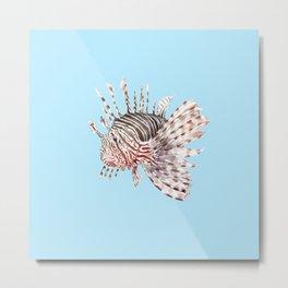 Watercolor Lionfish Tropical Fish Marine Life Painting Metal Print