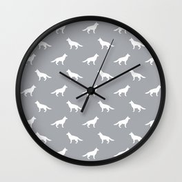 German Shepherd silhouette grey and white minimal dog breed pattern dogs dog art Wall Clock