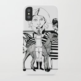 the girl, her dog and a bird iPhone Case
