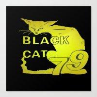 duvet cover Canvas Prints featuring BLACK CAT DUVET COVER by aztosaha