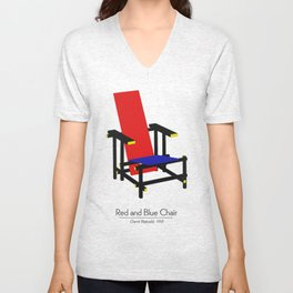 Red and Blue chair - Rood Blauwe stoel - Gerrit Rietveld Unisex V-Neck