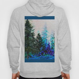 TEAL COLOR  MOUNTAIN  PINE FOREST LANDSCAPE Hoody