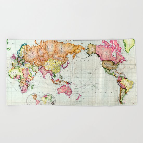 Colorful Antique Map of the World Beach Towel