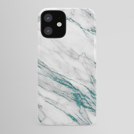 Gray Marble Aqua Teal Metallic Glitter Foil Style iPhone Case