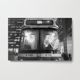 Streetcar 504 Toronto city - Black and white urban photography Metal Print