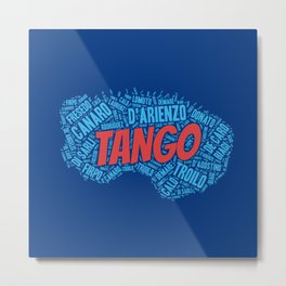 Argentine Tango Orchestras on Blue Bandoneon Metal Print