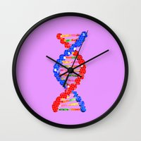 dna Wall Clocks featuring DNA Mosaic by ArtSchool
