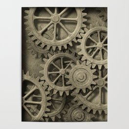 Steampunk Cogwheels Poster