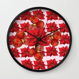RED POINSETTIA FLOWERS  ORNAMENTS CHRISTMAS ART Wall Clock