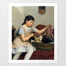 Girl With Cats by Albert Anker Art Print