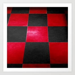 Red and Black Checkers Art Print