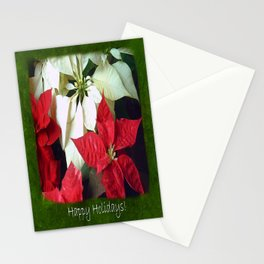 Mixed Color Poinsettias 2 Happy Holidays P1F5 Stationery Cards