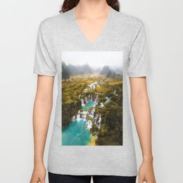 China's Waterfalls Unisex V-Neck