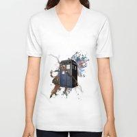 tardis V-neck T-shirts featuring tardis by erkamaj