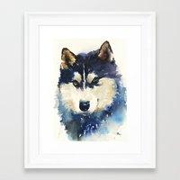 husky Framed Art Prints featuring Husky by Jason Cai