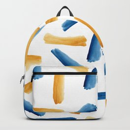 Modern artsy navy blue gold watercolor brushstrokes Backpack