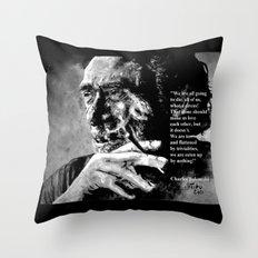 Charles Bukowski - black - quote Throw Pillow