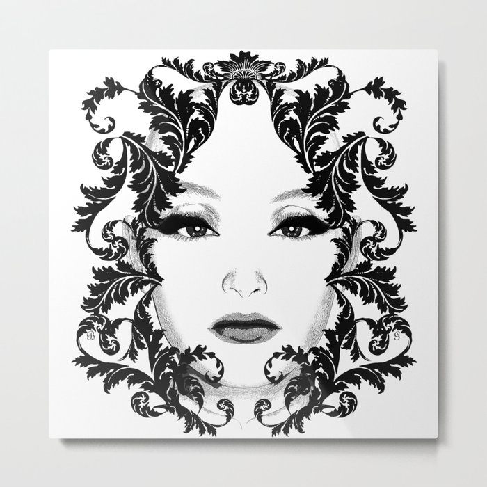 Black and white floral face ornament Metal Print
