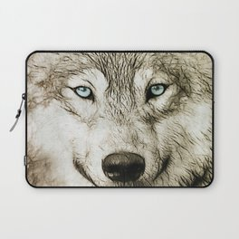 Smokey Sketched Wolf Laptop Sleeve