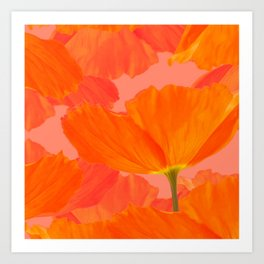 Beautiful Poppies Coral Color Background #decor #society6 #buyart Art Print