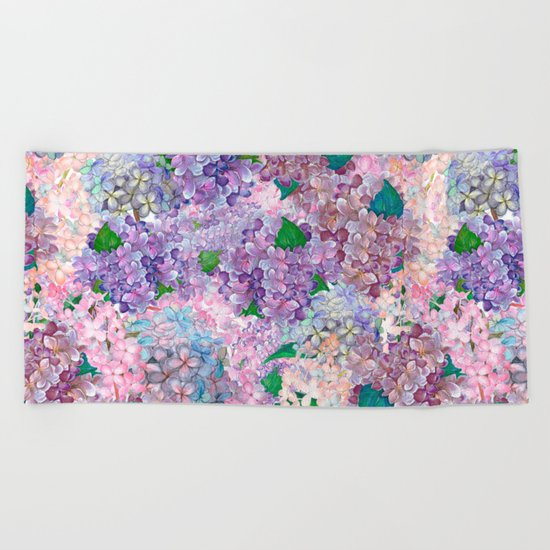 Purple and blue Lilac & Hydrangea - Flower Design Beach Towel
