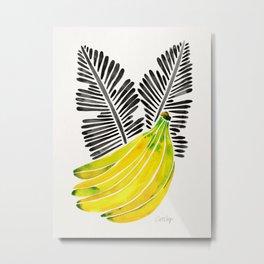 Banana Bunch – Yellow & Black Palette Metal Print