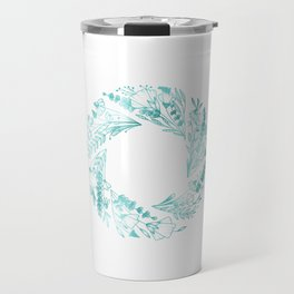 Teal Floral Aperture Ring Travel Mug