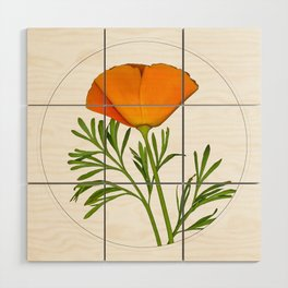 Photo of a Golden Poppy in a Circle Wood Wall Art
