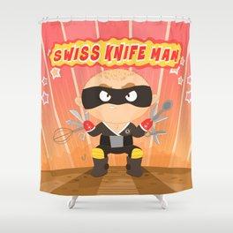 Swiss Knife Man Shower Curtain