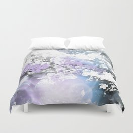 Watercolor Floral Lavender Teal Gray Duvet Cover