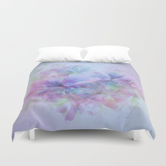 Soft Elegant Pastel Floral Abstract Duvet Cover