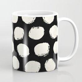 Trendy Cream Polka Dots on Black Coffee Mug